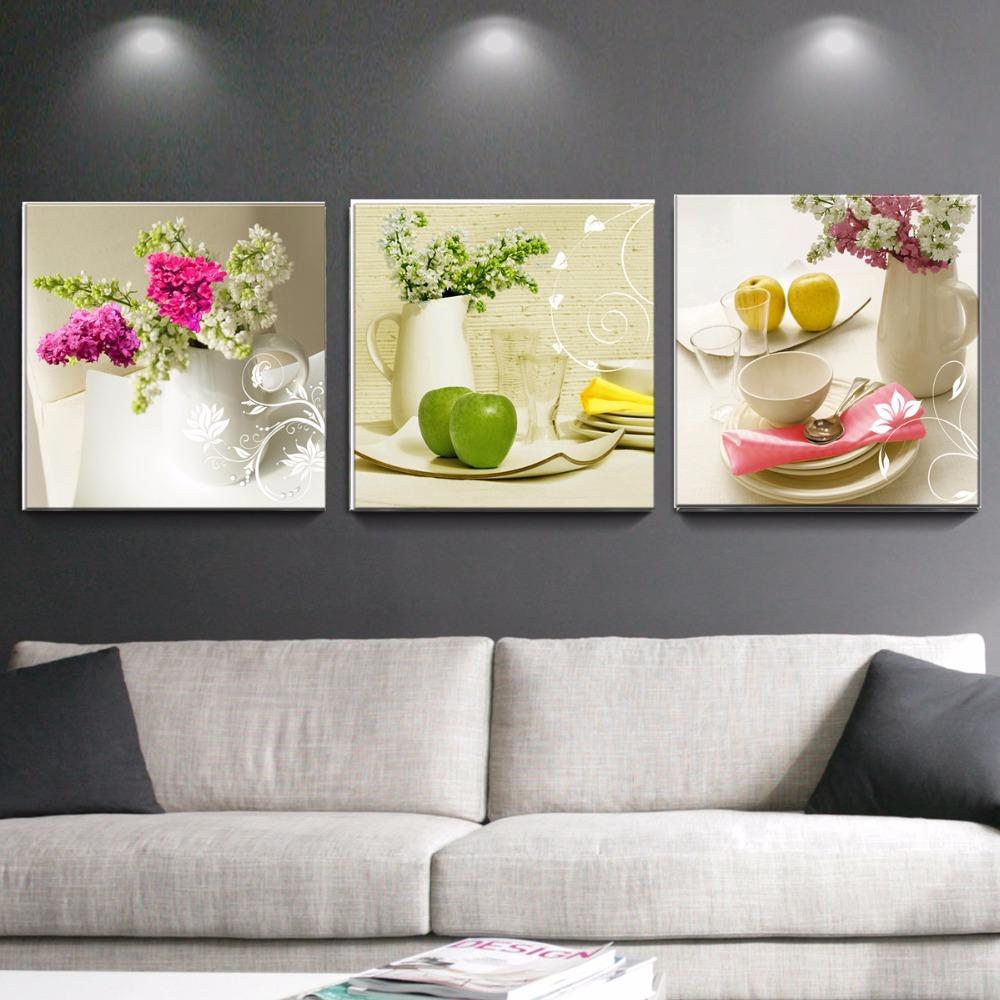 Achetez en gros toile art moderne fleur peinture en ligne for Decoration murale pour cuisine moderne
