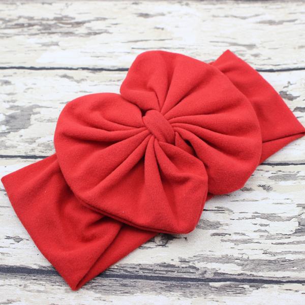Red Baby Girl Jersey Headband Top Knot Headband Head Wrap Bow Headband Turban Newborn photo prop 5pcs(China (Mainland))