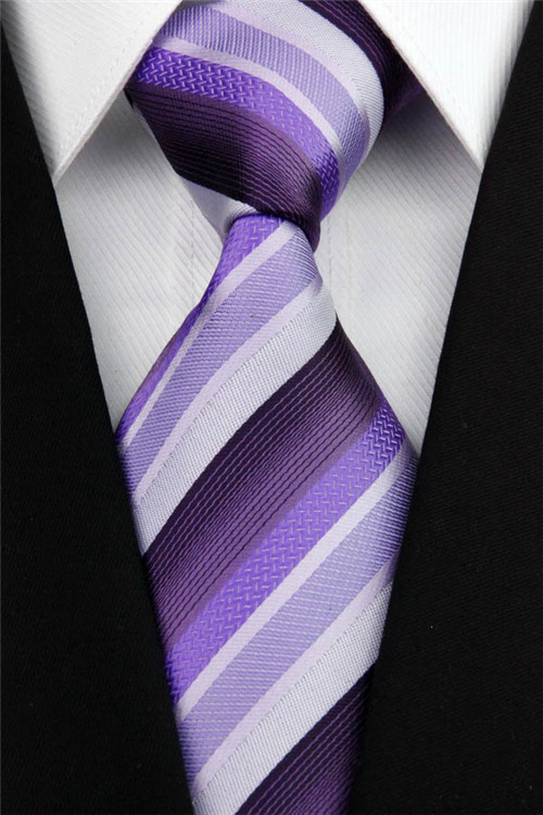 NT0123 Purple White Striped Man's Classic Silk Polyester Smooth Jacquard Woven Tie Business Wedding Party Luxury Casual Necktie - askformore store
