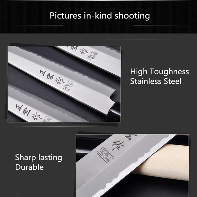 Buy Free Shipping ZHZ Japanese Style Kitchen Stainless Steel Sushi Sashimi Sashayed Raw Fish Slicing Knife Chef Cooking Knives cheap