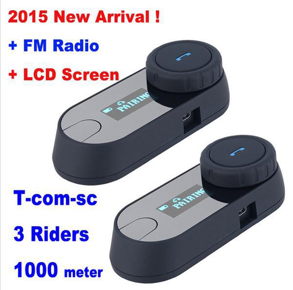 2PCS 2015 New Updated Version BT Bluetooth Motorcycle Helmet Intercom Interphone Headset Helmet Speaker with LCD screen FM Radio(China (Mainland))