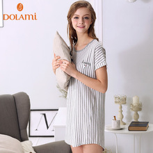 2016 Summer Brand Female Cotton Sleepwear Fashion Soft Striped Women O-neck Lounge Wear Girls Short Sleeve Loose Sleepshirt