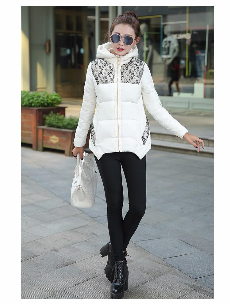 2016 Kış Ceket Ceket Kadınlar Aşağı Pamuk Ceket Orta-Uzun Kalınlaşmak Aşağı Ceket Kadın Moda Dantel Kapüşonlu Kış Parkı kadın A32