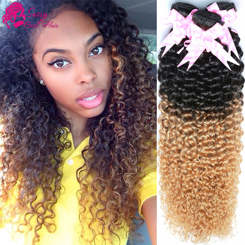 4 Bundles Of Malaysian Kinky Curly Hair 7a Ombre Blonde Kinky Curly Hair Weave Brand Online Dark Roots Blonde Hair Curly Weave