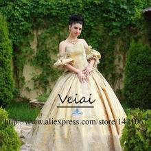 Vintage Lace Wedding Dresses Ball Gown Strapless Chapel Train robe de mariee Plus Size Gold Appliques vestido de noiva DS267(China (Mainland))
