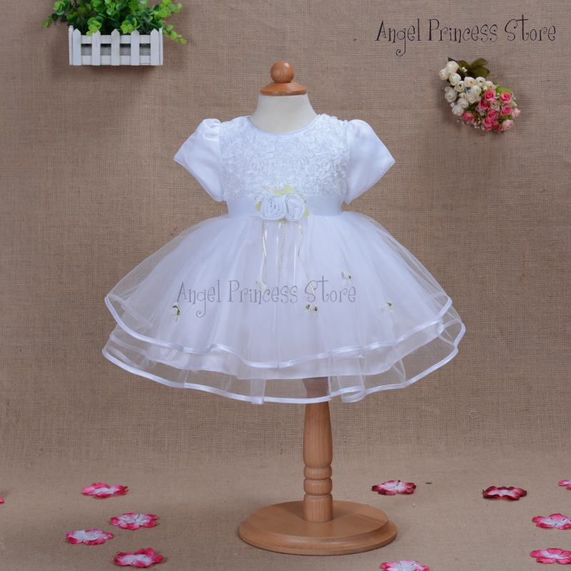 E04 2015 Top Quality Baby Christening Party Gown Infant Girls Princess Lace Baptism Dress Toddler Baby Girl Chiffon Flower Dress(China (Mainland))