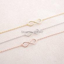 2016 Fashion Gold Silver 8 Infinity Bracelet,infinite Bracelet,Eight Shape Bracelet Girl Jewelry B003(China (Mainland))