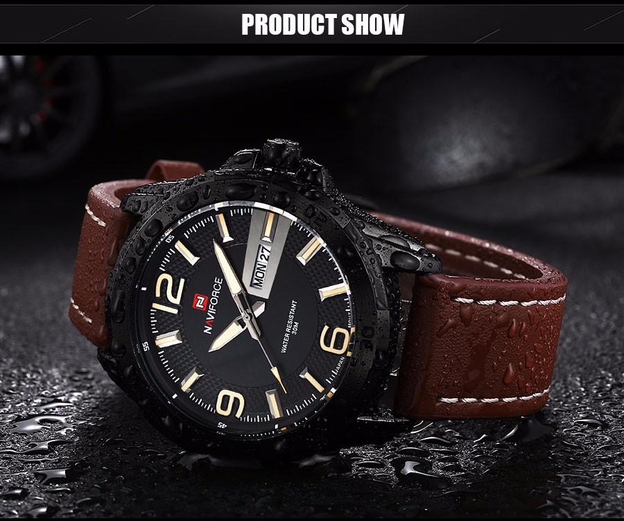 NAVIFORCE 2016 Новый кварцевые часы мужчины люксовый бренд Спорт повседневная бизнес 3ATM часы красный черный дата неделя кожаные наручные часы