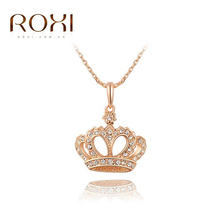 Roxi Fashion Women's Jewelry High Quality Rose Gold Plated Crown Shaped Pendant Necklace With Austrian Crystal