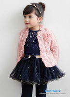 Free Shipping 2014 Fashion Design  3pcs Baby Girl Kids Toddler Infants Children Top Coat+T-shirt+Skirt Tutu Clothes Outfit Set