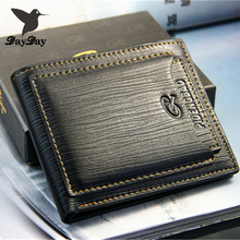 2015 New fashion genuine leather men's wallets designer famous brand money clip vintage carteiras three color Free Shipping