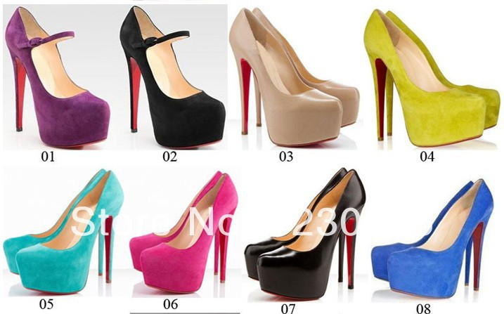 dress shoes,hot selling Daffodil 140mm 160mm Suede platform Pumps high heels factory price Turquoise Red Bottom Shoes(China (Mainland))
