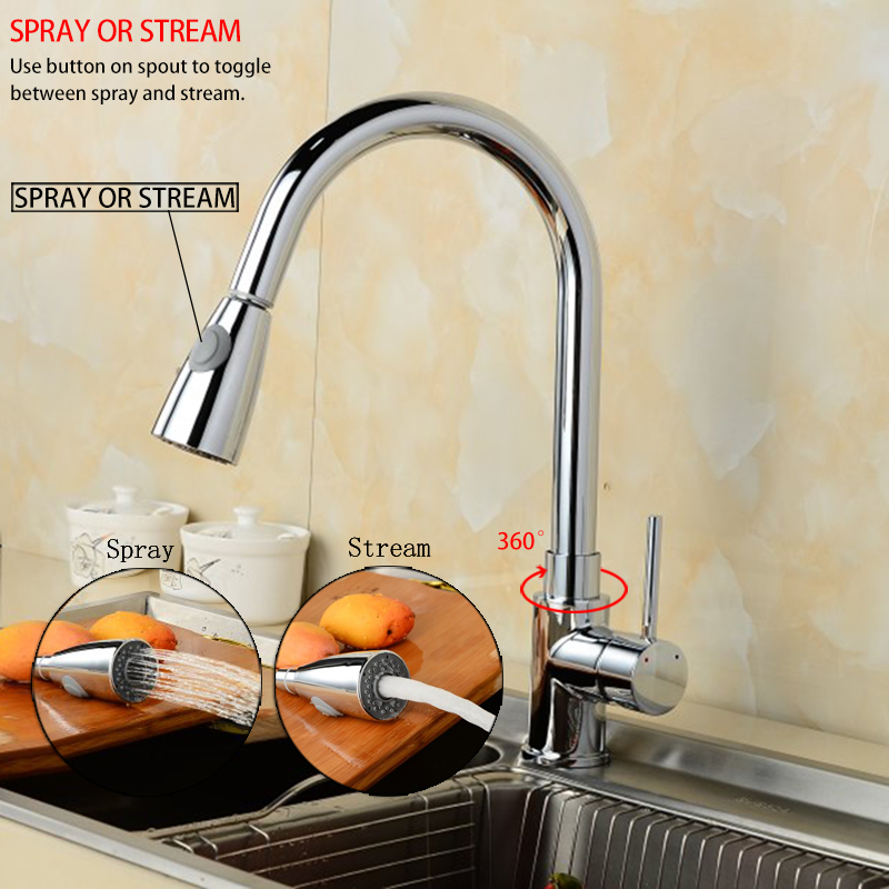 Kitchen Pull Out Kitchen Faucet Brass Made Sink Mixer Tap Chrome/Brush Nickel faucet 360 Degree Swivel.Torneira Cozinha(China (Mainland))