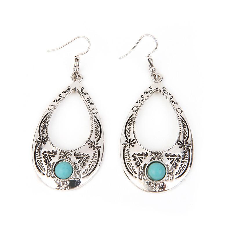 Retro Teardrop Earrings Hippie Boho Chic aritos Southwestern Earrings Native American Jewelry Ethnic Tribal Earrings Gypsy Girl(China (Mainland))