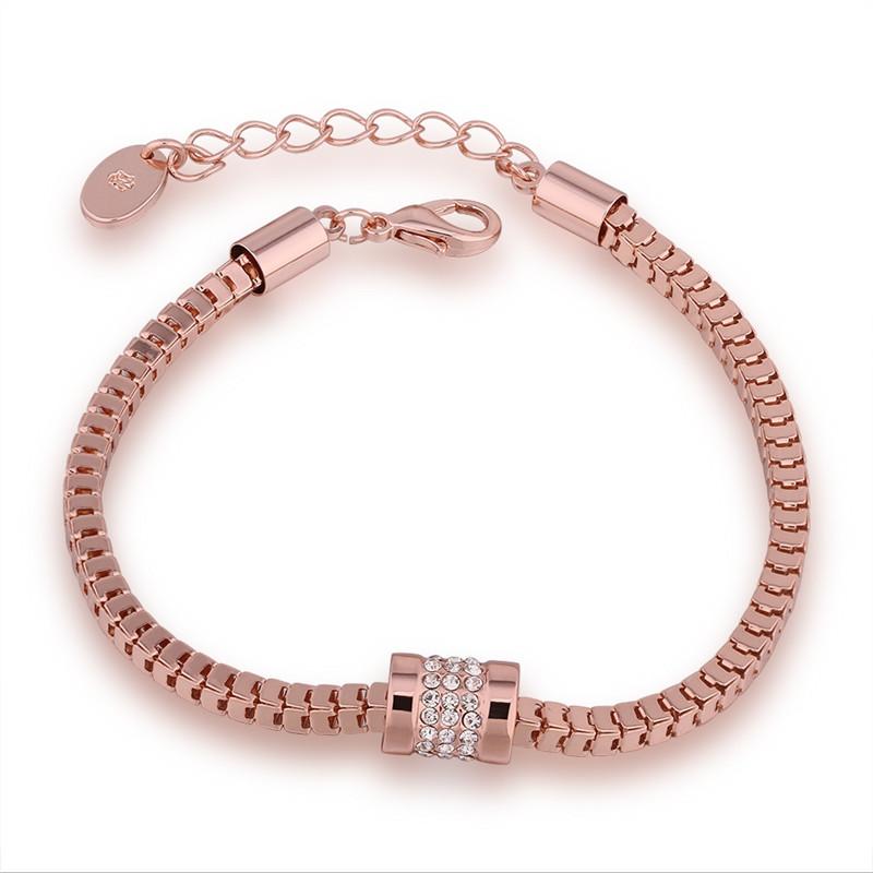 Trendy Hot Sale Rose Gold Plated Bracelets For Women Party Inlay CZ Diamond Jewelry Vintage Accessories Pulseira Feminina QA0454(China (Mainland))