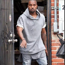 Brand-clothing Kanye West Hip hop Solid Hoodies men, Mens Casual Sports Streetwear Fashion Extended Sweatshirt with Half sleeve(China (Mainland))