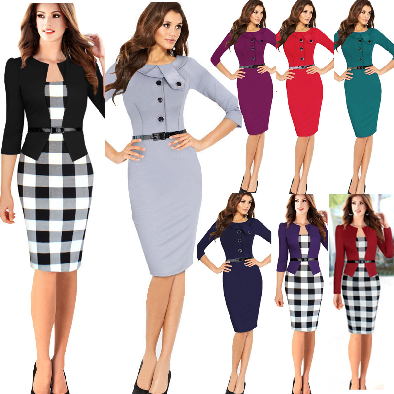 High Quality 2015 Women Summer Hot Elegant Belted Tartan Patchwork Tunic Work Business Casual Party Bodycon Pencil Sheath Dress(China (Mainland))