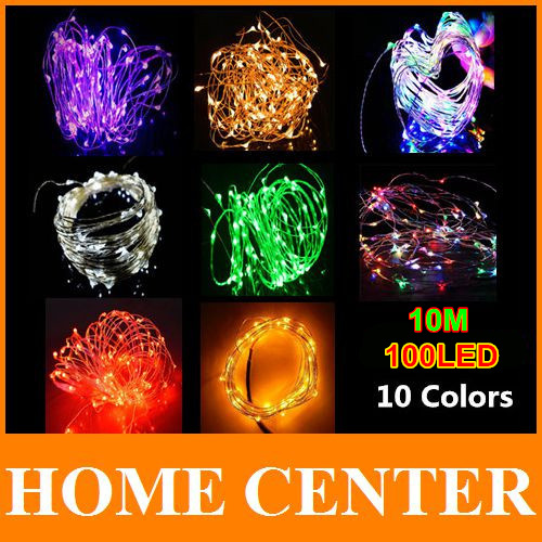 33FT DC12V 10M 100LED Silver Wire Led String lights Waterproof led light for party christamas holiday,wedding decoration(China (Mainland))
