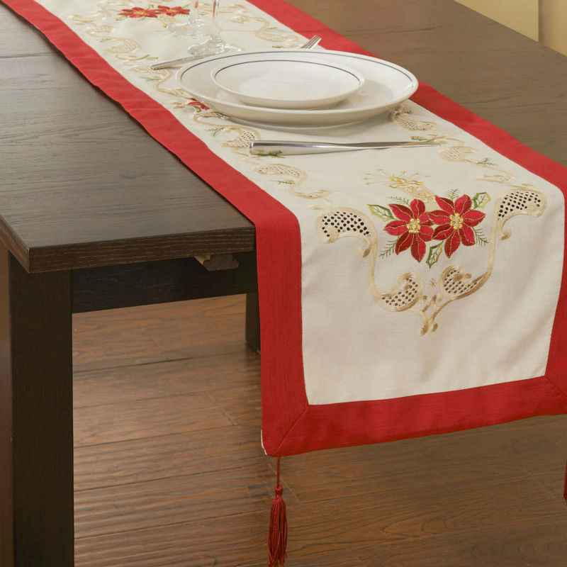 """38x132cm ,Holiday Red!Christmas Decoration, Embroidery Tablelinen/ RUNNERS 15X52"""" ! Free shipping(China (Mainland))"""