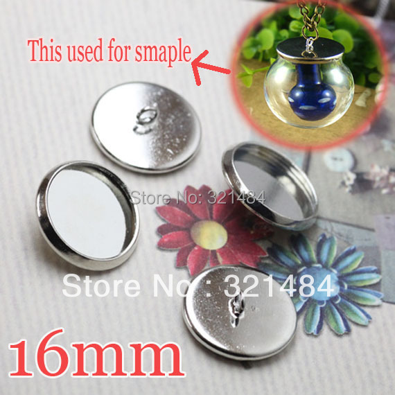 500pcs Silver plated Caps Covers For glass bottle vials pendant 16mm Blank Base Setting jewelry DIY Wholesale