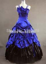 Royal  Blue Sleeveless Gothic Victorian Dress Ball Gowns Party Dress