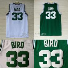 Бостон 33 ларри берд баскетбол джерси, бюджетный сетки джерси вышивка логотипов ларри берд-джерси — белый и зеленый