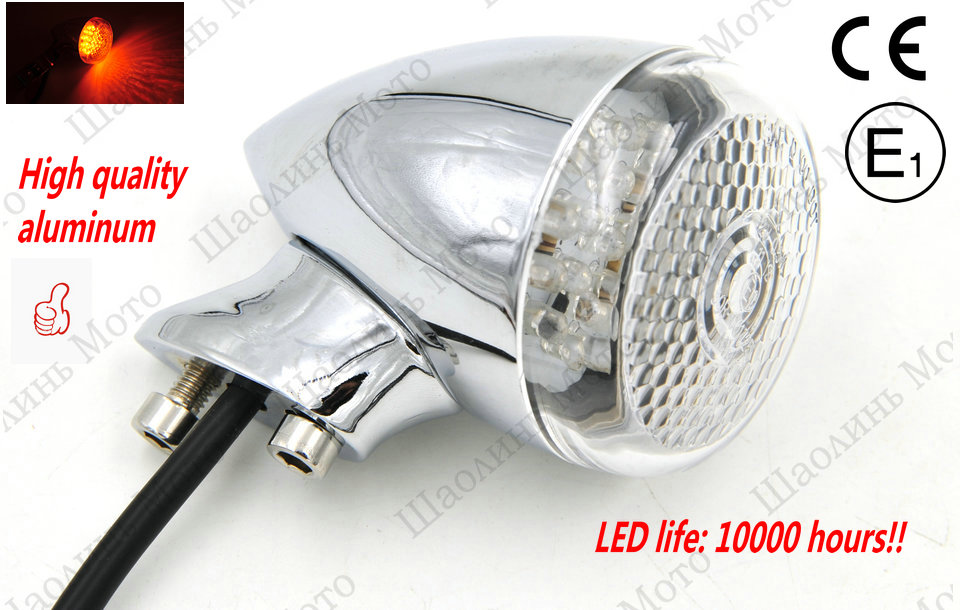 2x 12V0.5W Aluminum vintage CAFE RACER Front Rear Motorcycle LED Turn Signal Light 41mm Fork Clamp for harley Free shipping<br><br>Aliexpress
