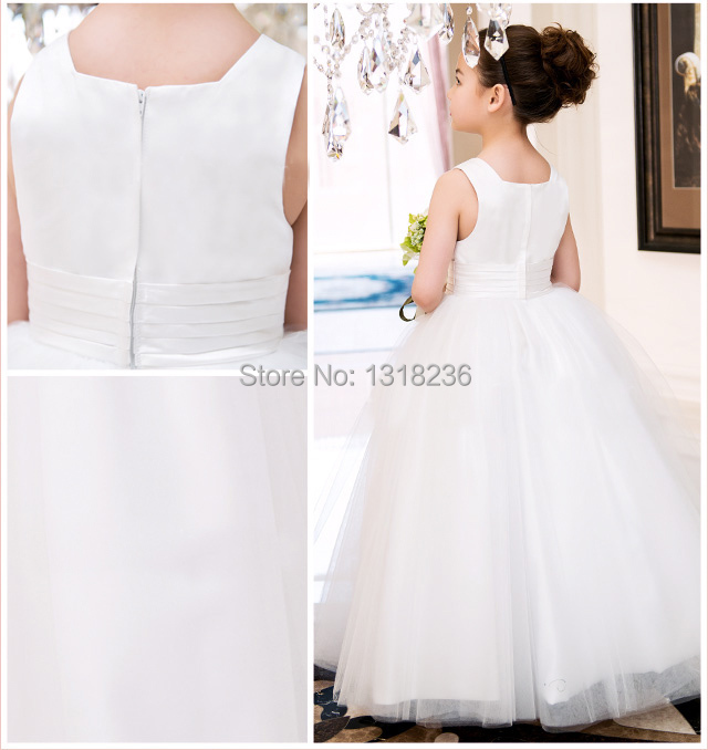2015 A line Tank Sleeveless Tulle White Ivory Satin Flower Girl Dresses for Weddings First Communion