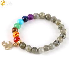 Buy CSJA 8mm Women Labradorite Spectrolite Bracelets Natural Stone Loose Beads OM Buddha Charms 7 Chakra Meditation Men Bangles E447 for $2.35 in AliExpress store