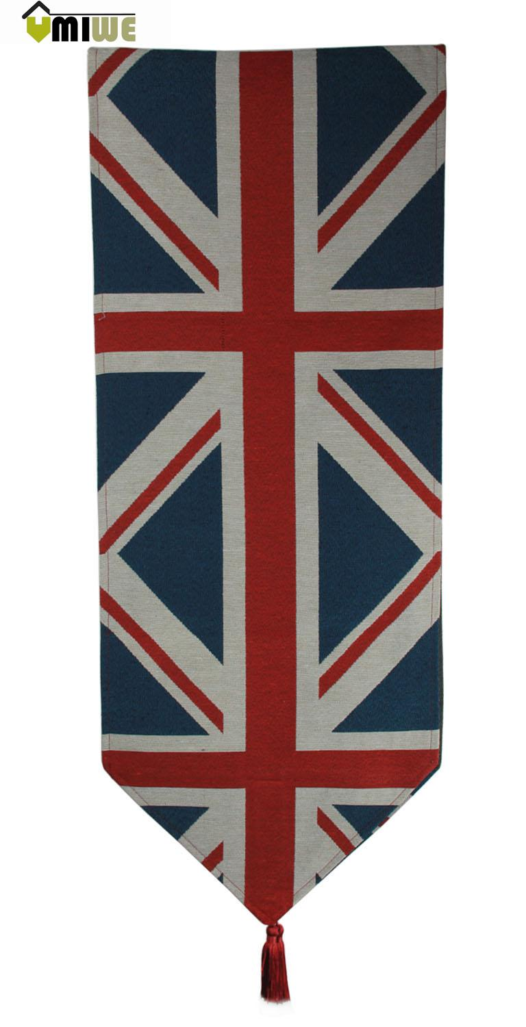 Umiwe Britain Flag Pattern European Western Style Cotton Linen Food Dinner Table Runner(China (Mainland))