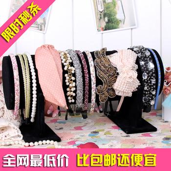 Y - Flannelet headband rack hoop frame hair pin rack jewelry holder accessories display rack storage plaid pavans 30*12CM