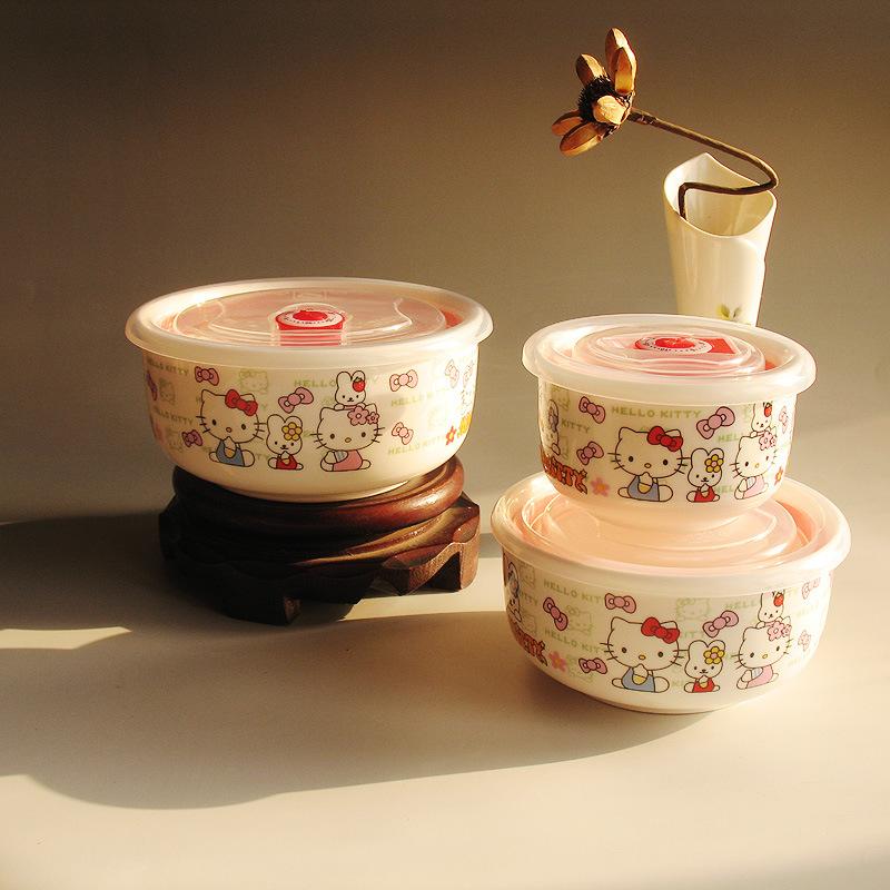 Prosperity Jingdezhen Ceramic flower KT cat cartoon full microwave bowl of fresh three-piece ceramic manufacturers, wholesale<br><br>Aliexpress