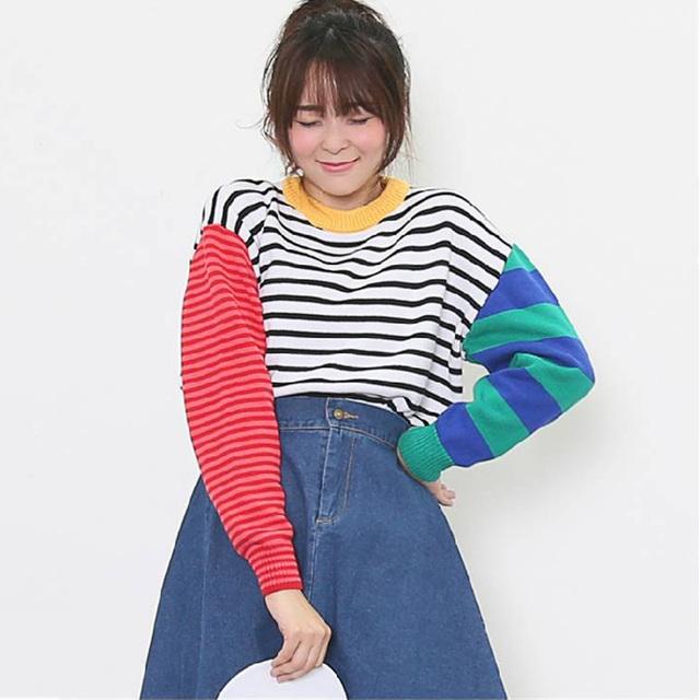 Жилетido свободного покроя женщина свитер хит цвет милый полосатый свитер зима пуловеры ...