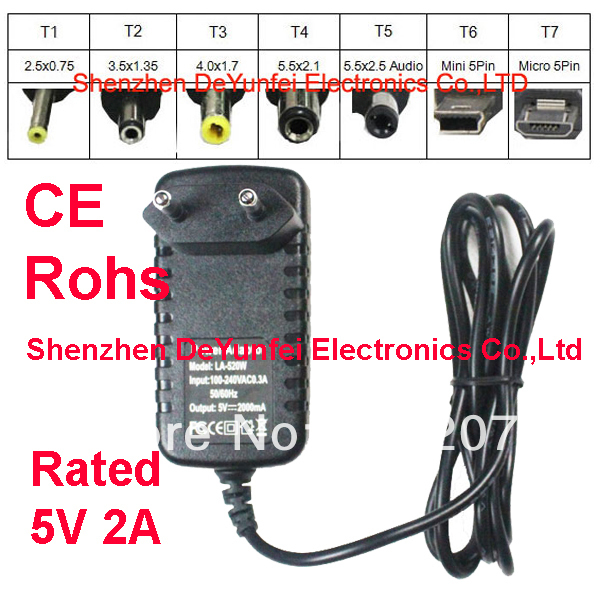 CE ROHS Charger 5V 2A EU Adapter Charger Plug 2.5mm for Maxtouuch Android Tablet PC LA-520W LA520W(China (Mainland))