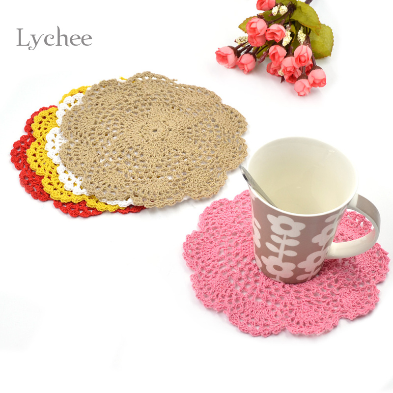 2 Pieces/Lot Cotton Handmade Crochet Doilies Cup Mat Pad Coaster Hook Flower Doily Table Mats Tableware Placemat Coasters(China (Mainland))