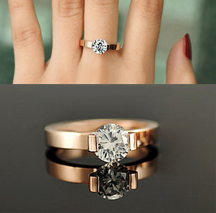 1CT Solid 14K Rose Gold Lovely Style Dependable CHARLES&COLVARD Moissanite Engagement Ring Surprise Quality With Non Other Metal(China (Mainland))