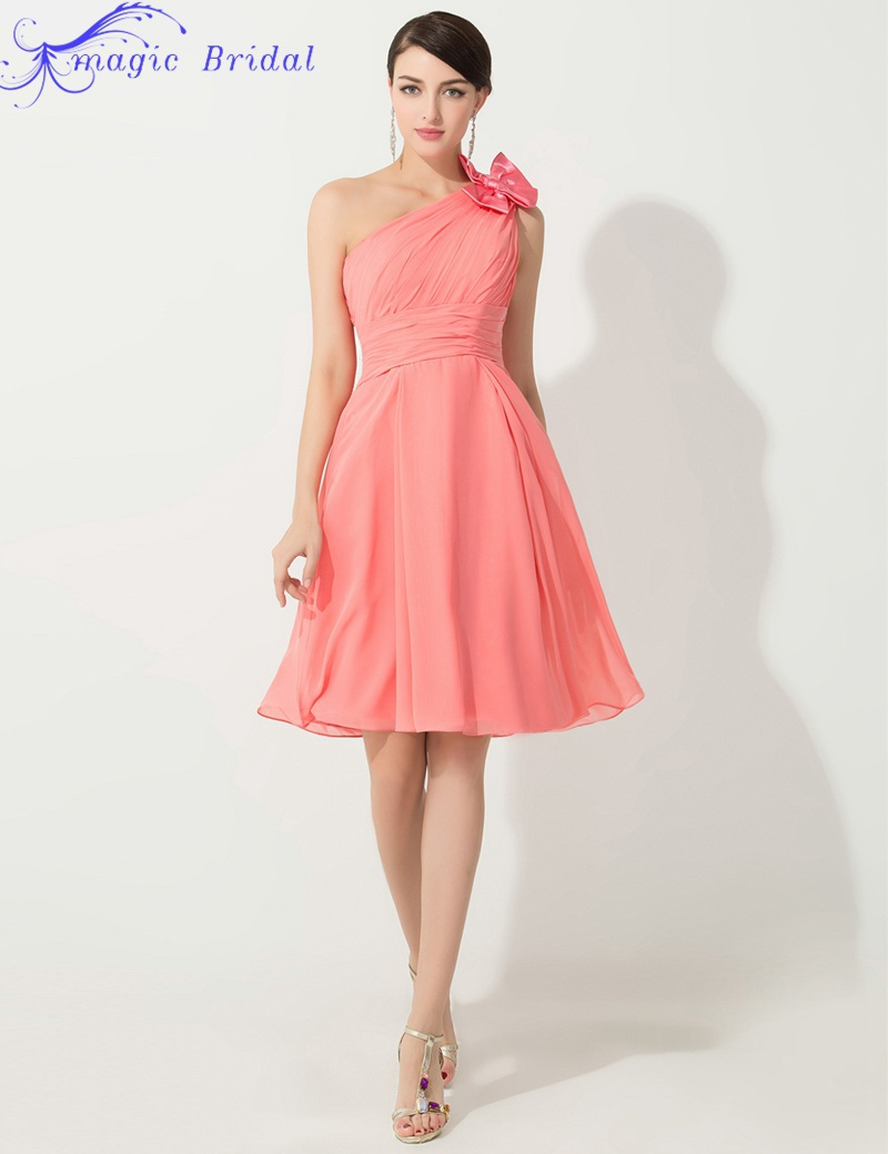 Popular Coral Bridesmaid One Shoulder Dresses-Buy Cheap Coral ...