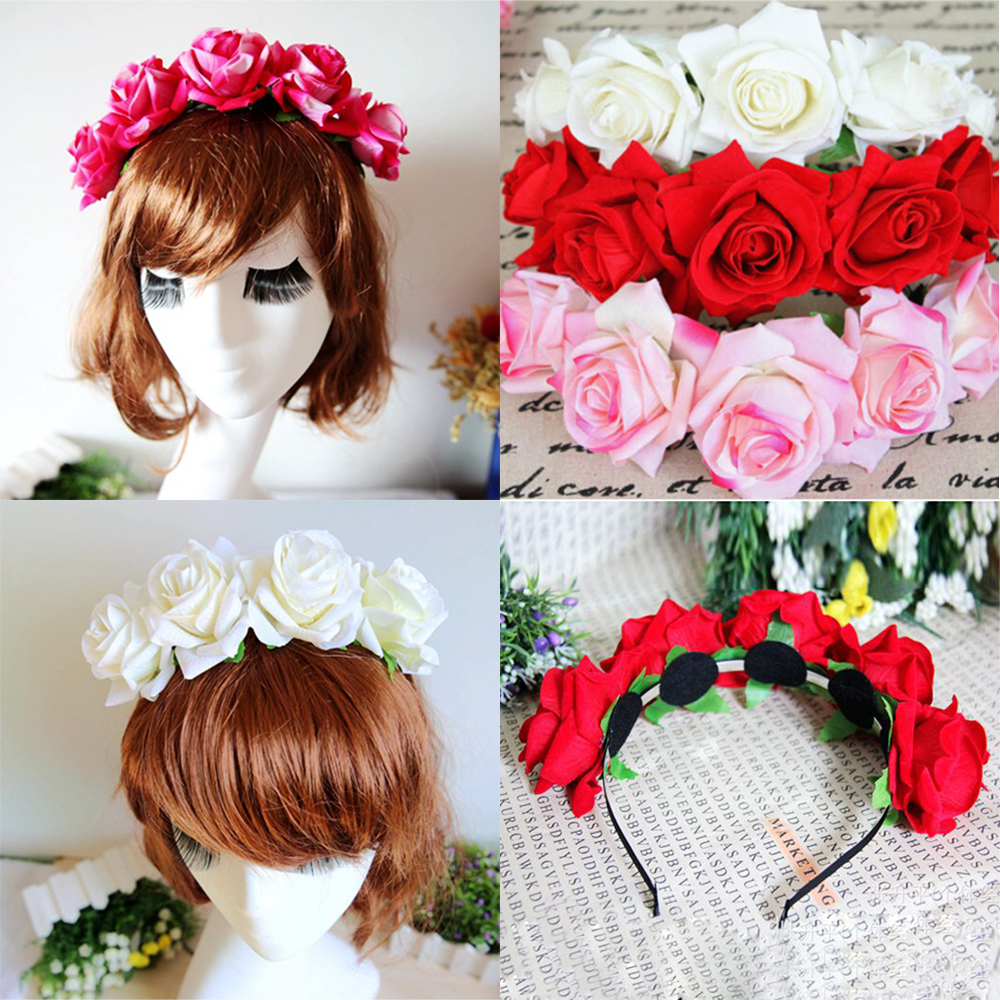 1*Rose Floral Flower Garland Crown Headband Hair Band Bridal Festival Holiday(China (Mainland))