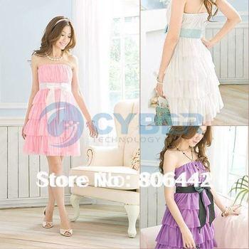 Fashion Women's Sweet Bowknot Embellish Layers Petticoat Party Mini Tube Chiffon Dress b7 3689