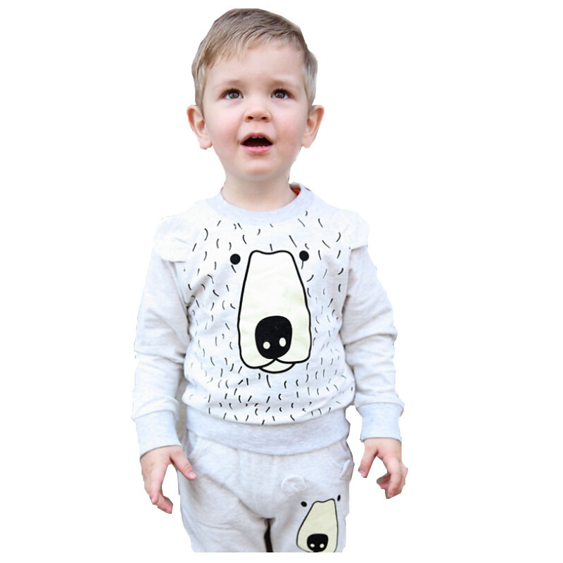 Baby Boy Girls Sweat Suit Clothing set 2015 New Spring Street Cartoon Print Outfit+Pants Kids Brand Children Sports Tracksuits(China (Mainland))