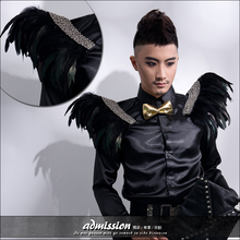 Male personality Banquet feather epaulette brooch corsage accessories