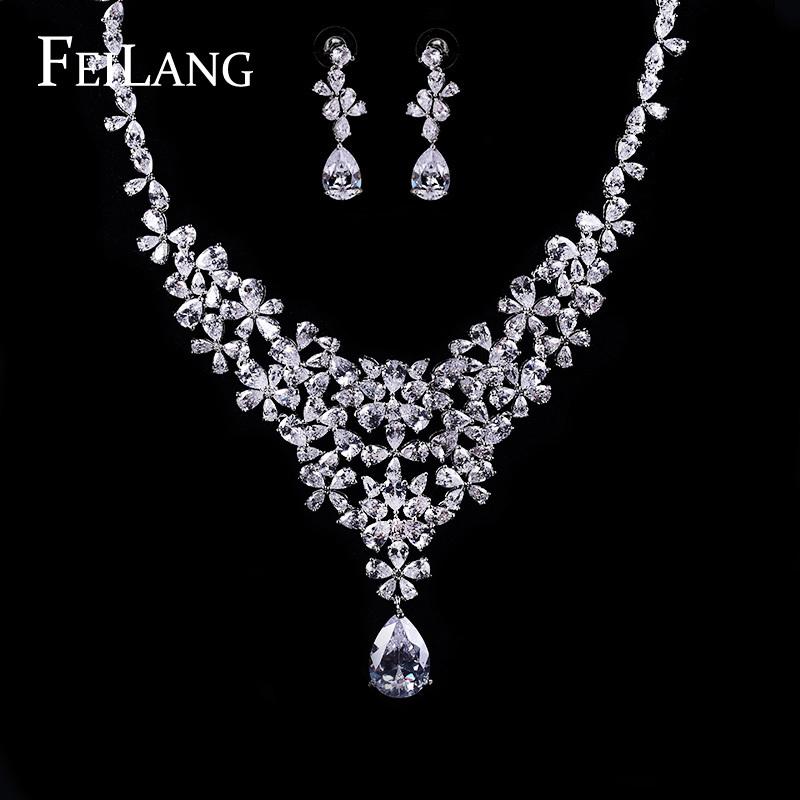 Buy Simple Teardrop CZ Diamond Flower Cluster Necklace And E