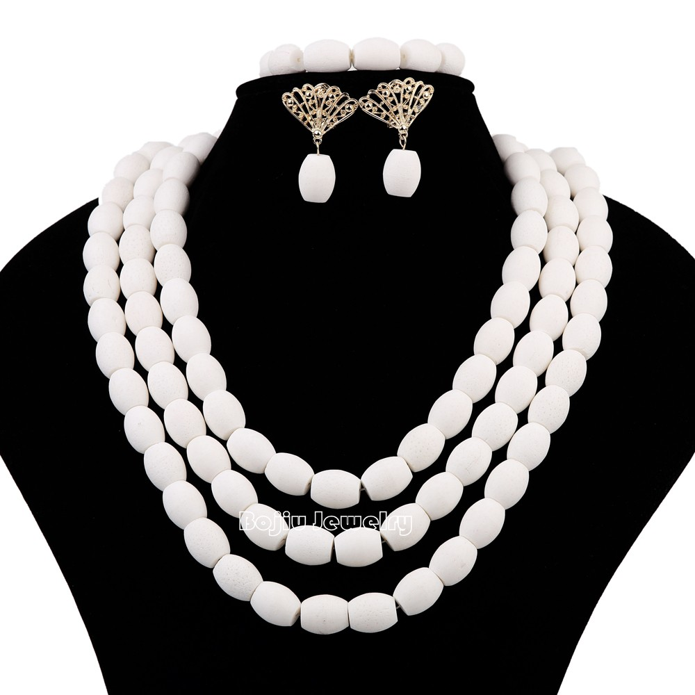 African Wedding White Coral Beads Big Oval Bead 3 layers Jewelry Set African Costume Jewelry Sets<br><br>Aliexpress