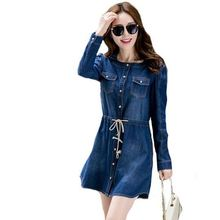 5XL plus size 2015 new autumn winter style long sleeve bandage Denim Dress Elegant vestidos de femininos Dresses women clothing(China (Mainland))