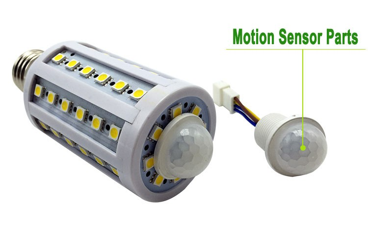 5pcs Infrared Montion Sensor Led Corn Bulb 5050 E27 10W 12W 110v 220v 85-265V body induction LED corn light for Corridor Garage(China (Mainland))