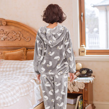 Winter song Riel hooded flannel pajamas cute cartoon men and women couple home service package love