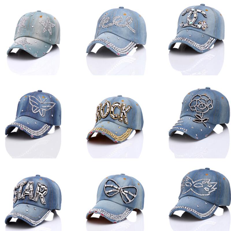 Fashion Womens Summer Outdoor Sun Shading Baseball Caps Mix Styles Crystal Rhinestone Denim Bling Snapback Adjustable Hats(China (Mainland))