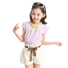 toddler girl clothes 2016 new fashion summer big girl clothes sets solid sleeveless girls summer clothes top t shirt +shorts