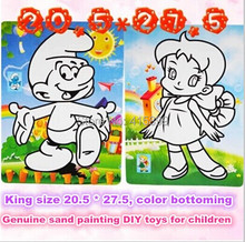 50pcs/lot wholesale 20.5*27.5cm Kids DIY sand art paper sand painting card sticker kit 9 colors sand with color paperboard(China (Mainland))