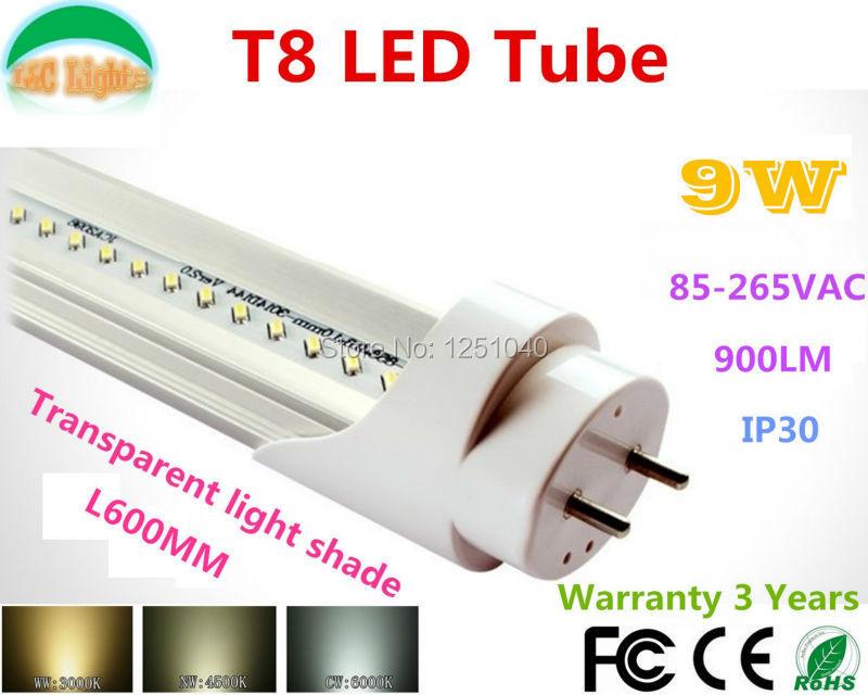 Super Brightness T8 Led Tube 0.6M 9W Transparent light shade Fluorescent Tubes 96PCs SMD3014 900LM 85-265VAC CE RoHS 25Pcs/lot(China (Mainland))